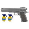 Pistolet Metalizowany Na Kulki 6mm CHWYT PISTOLETOWY 100% METAL V6 + 2x Granaty TOMDORIX